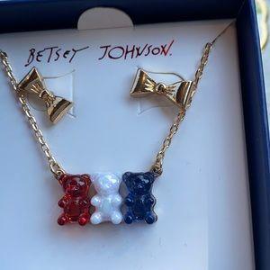 Betsey Johnson red white blue gummy bear necklace